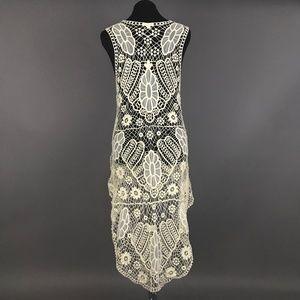Ivory Crochet Long Vest